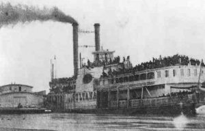 Ilustrasi kapal uap yang beroperasi tahun 1800-an